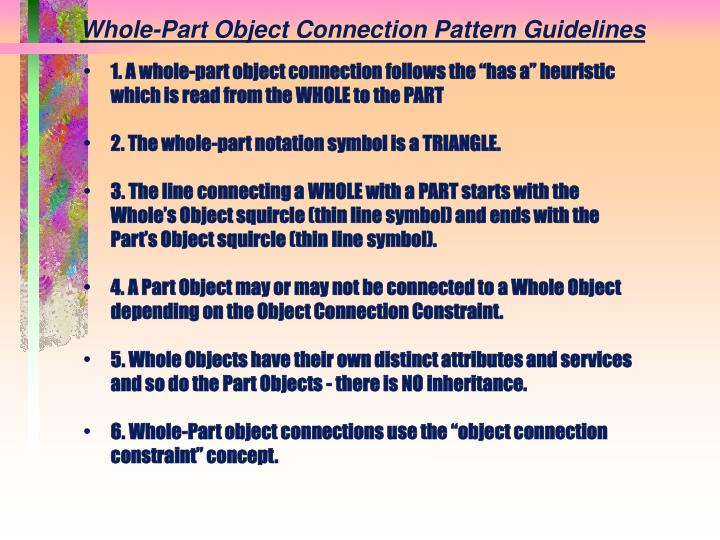 Whole-Part Object Connection Pattern Guidelines