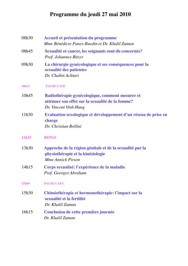 Programme du jeudi 27 mai 2010