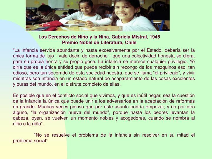 Los Derechos de Niño y la Niña, Gabriela Mistral, 1945