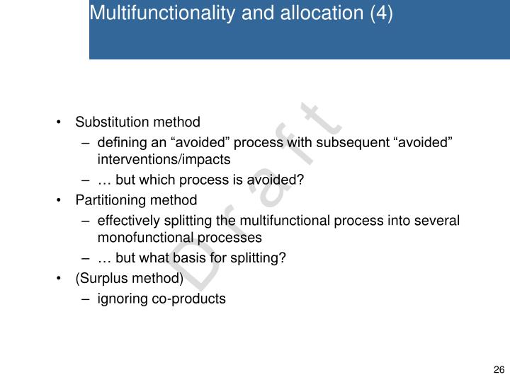 Multifunctionality and allocation (4)