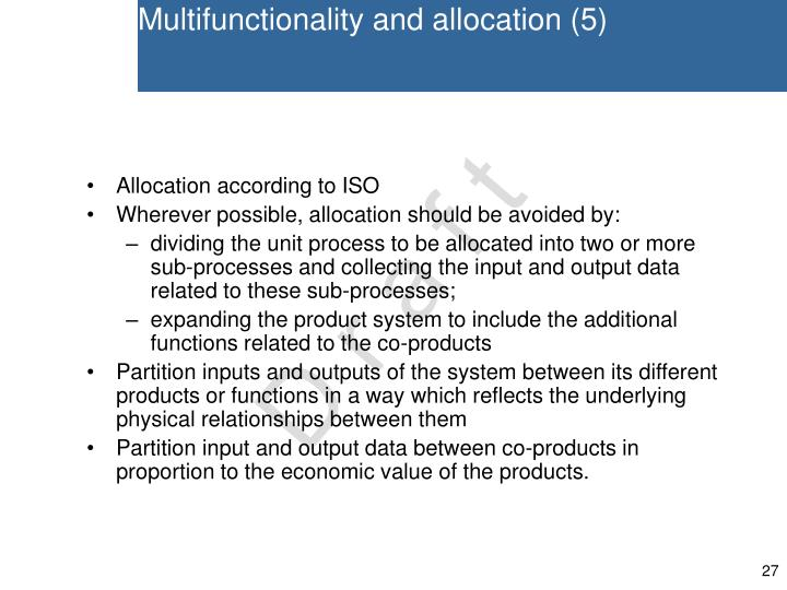 Multifunctionality and allocation (5)