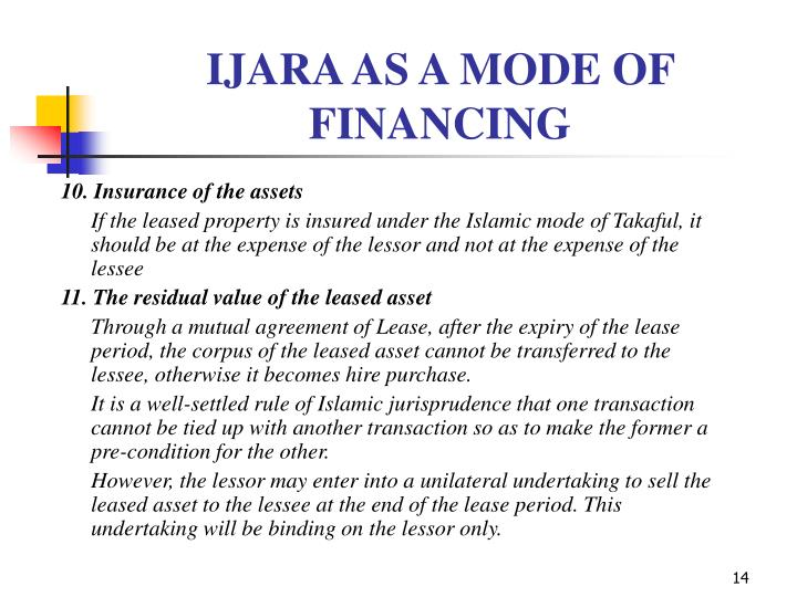 IJARA AS A MODE OF FINANCING
