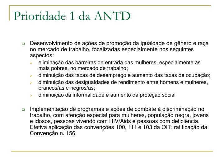 Prioridade 1 da ANTD