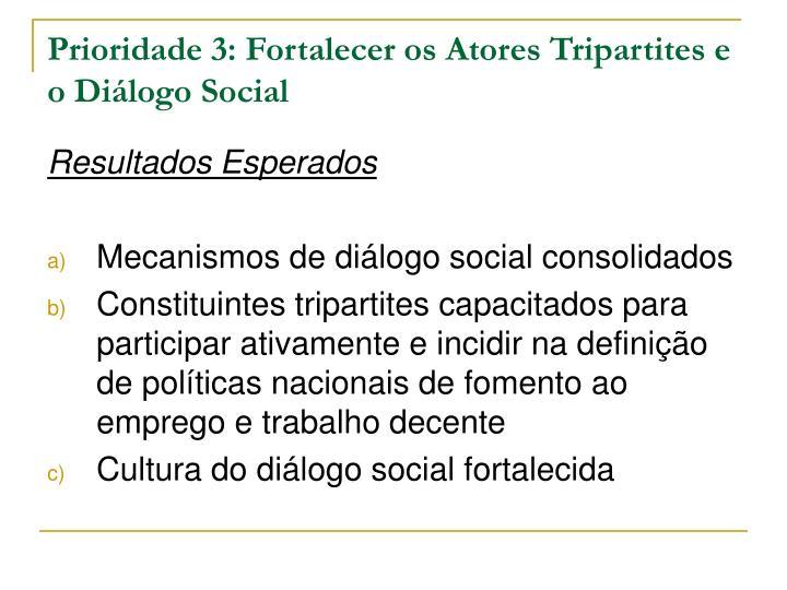 Prioridade 3: Fortalecer os Atores Tripartites e o Diálogo Social