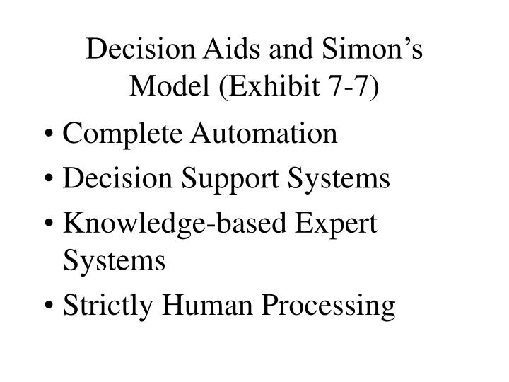 Decision Aids and Simon's Model (Exhibit 7-7)