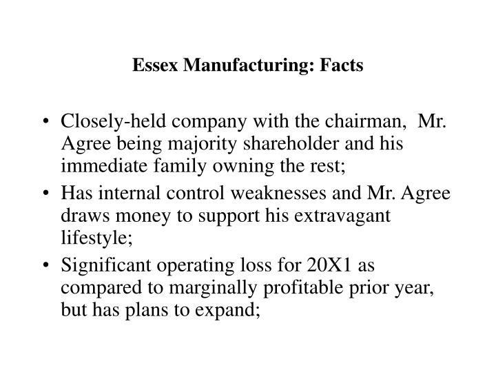 Essex Manufacturing: Facts