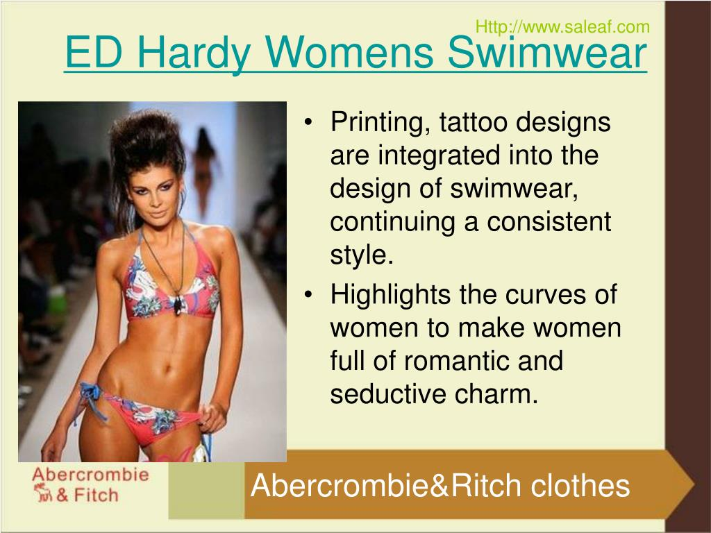 Printing, tattoo designs are integrated into the design of swimwear, continuing a consistent style.