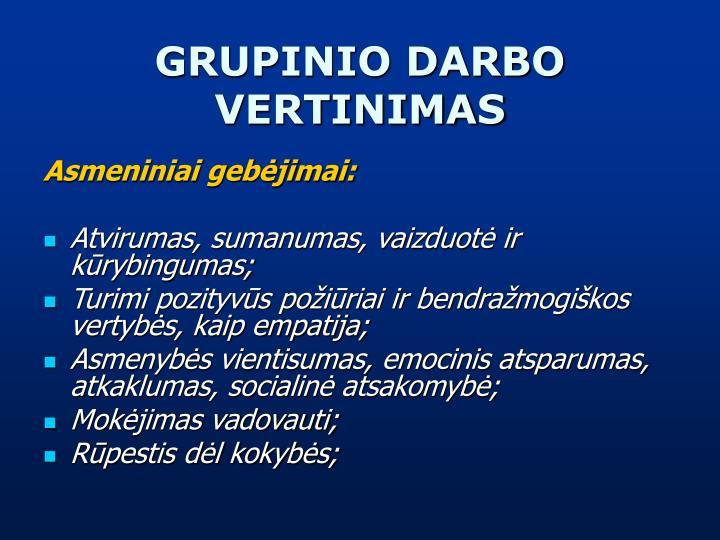 GRUPINIO DARBO VERTINIMAS
