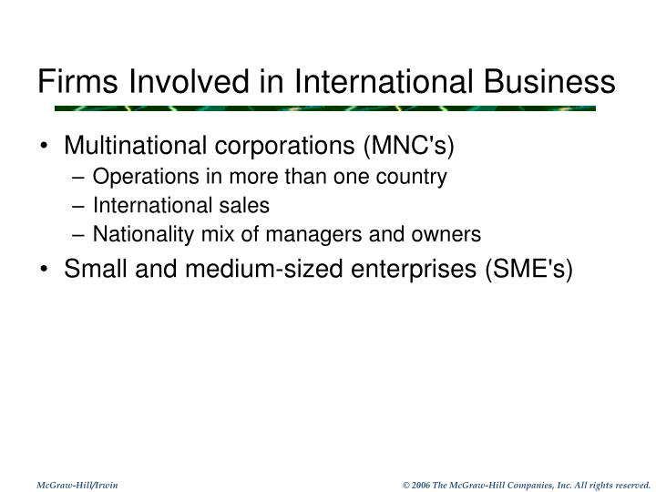 Firms Involved in International Business