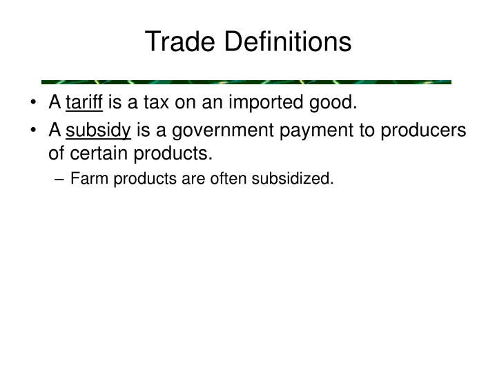 Trade Definitions