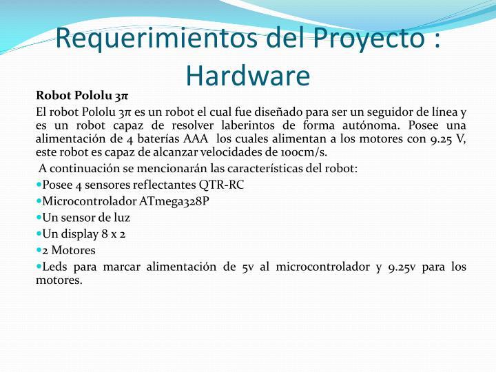Requerimientos del Proyecto :