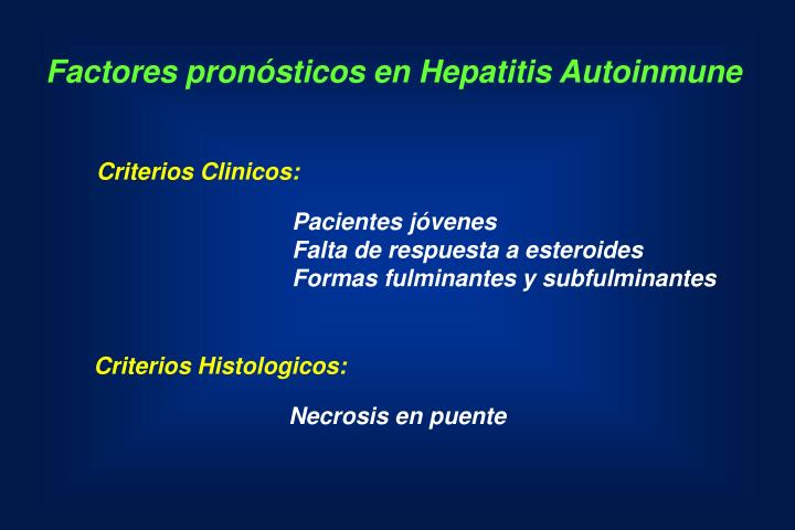 Factores pronósticos en Hepatitis Autoinmune