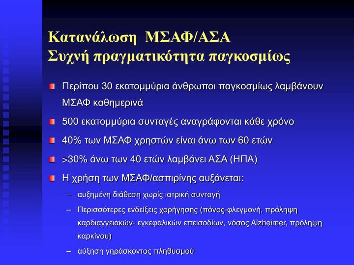 Κατανάλωση  ΜΣΑΦ/ΑΣΑ