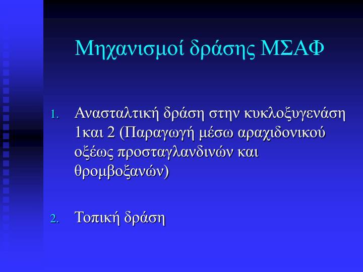 Μηχανισμοί δράσης ΜΣΑΦ