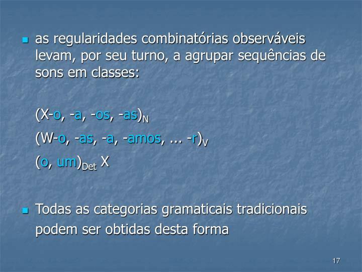 as regularidades combinatórias observáveis levam, por seu turno, a agrupar sequências de sons em classes: