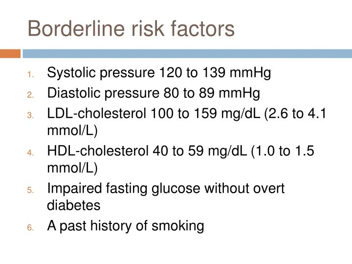 Borderline risk factors