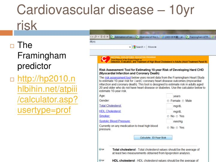 Cardiovascular disease – 10yr risk
