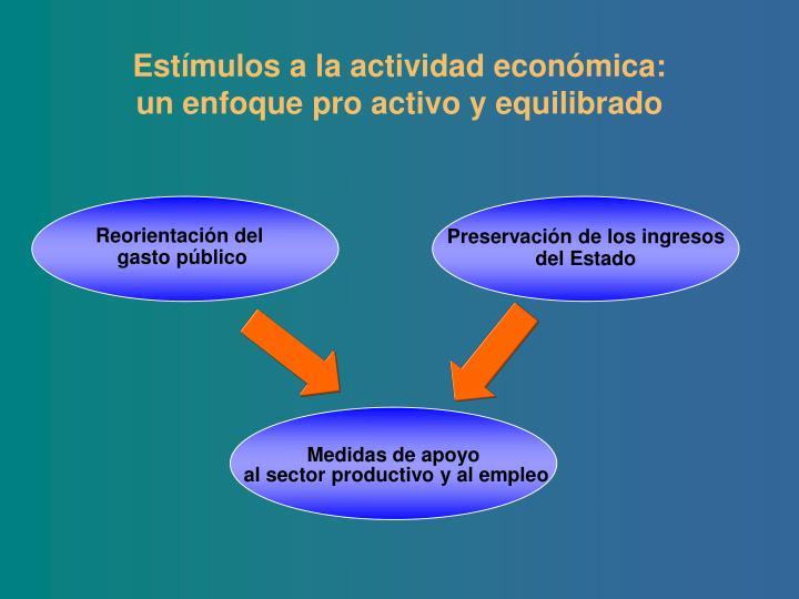 Estímulos a la actividad económica: