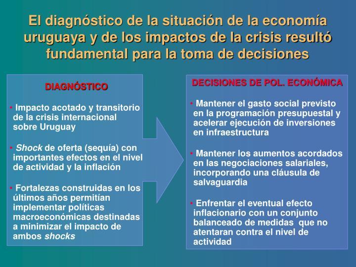 El diagnóstico de la situación de la economía uruguaya y de los impactos de la crisis resultó fundamental para la toma de decisiones