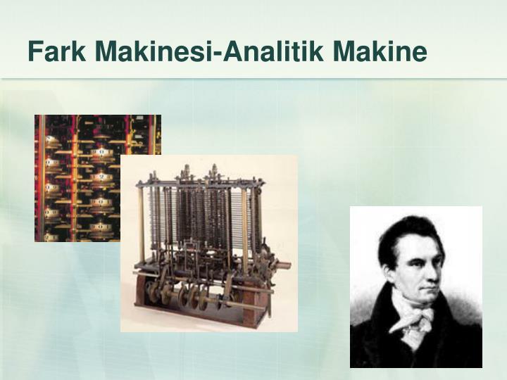 Fark Makinesi-Analitik Makine