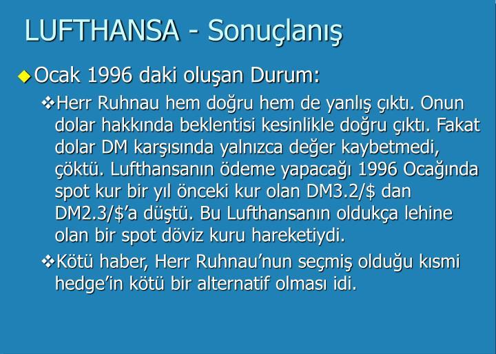 LUFTHANSA - Sonuçlanış