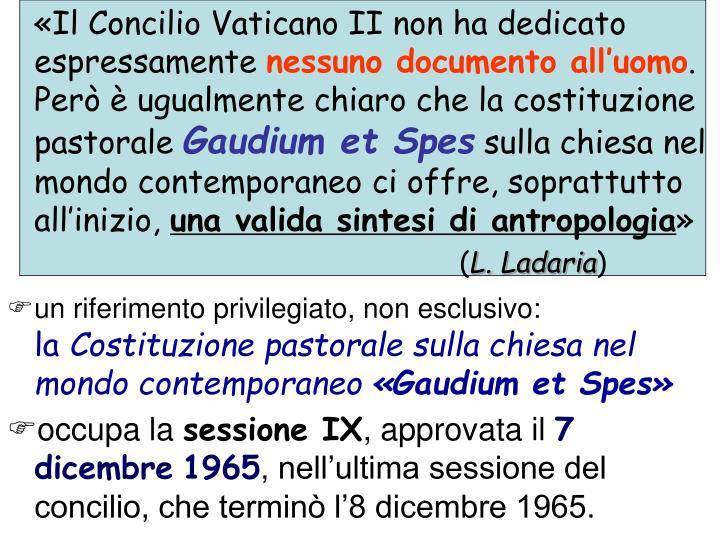 «Il Concilio Vaticano II non ha dedicato espressamente