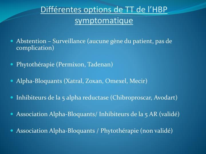 Différentes options de TT de l'HBP symptomatique