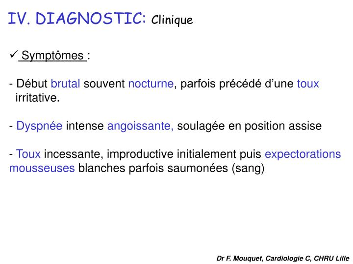 IV. DIAGNOSTIC: