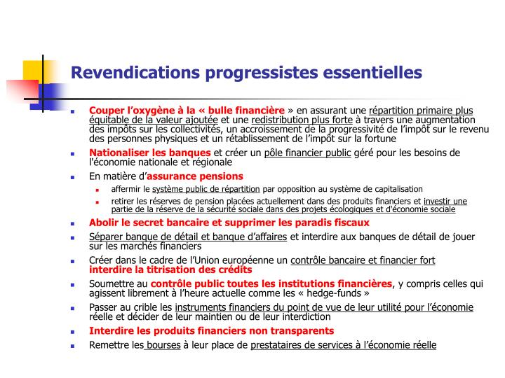 Revendications progressistes essentielles