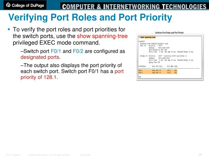 Verifying Port Roles and Port Priority