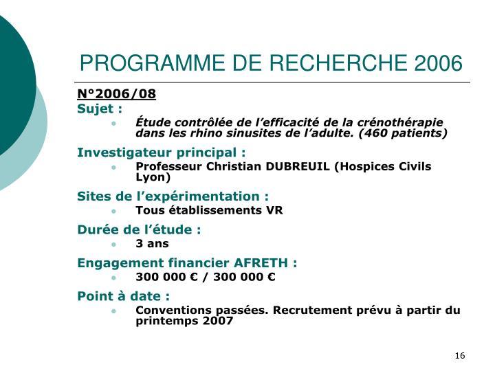 PROGRAMME DE RECHERCHE 2006