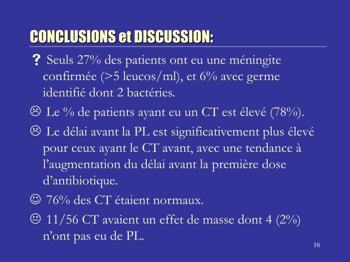 CONCLUSIONS et DISCUSSION: