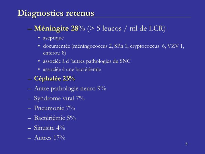 Diagnostics retenus