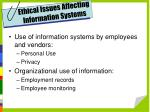 ethical issues affecting information systems