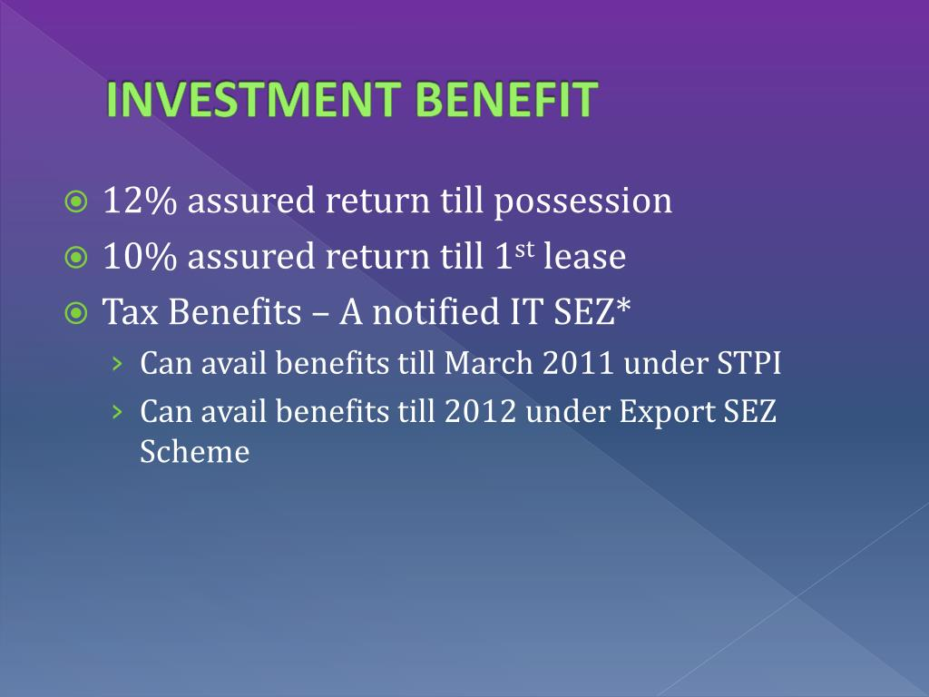 INVESTMENT BENEFIT