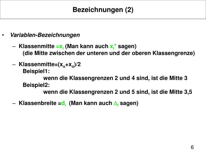 Bezeichnungen (2)