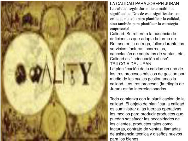 LA CALIDAD PARA JOSEPH JURAN