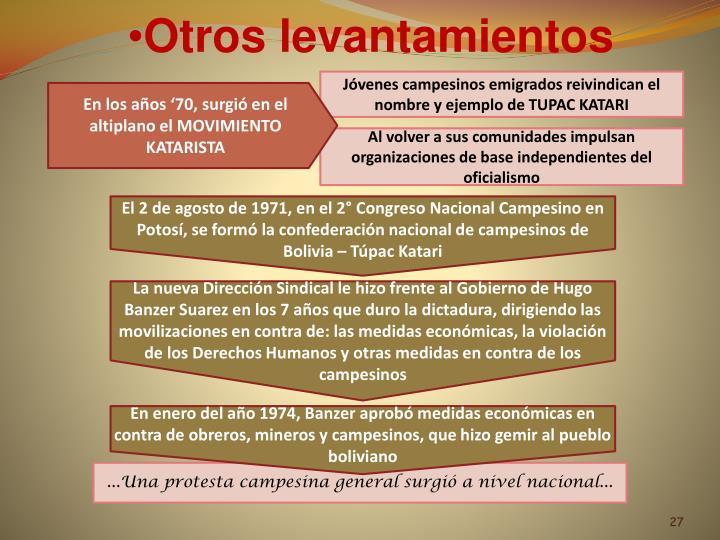 El 2 de agosto de 1971, en el 2° Congreso Nacional Campesino en Potosí, se formó la confederación nacional de campesinos de