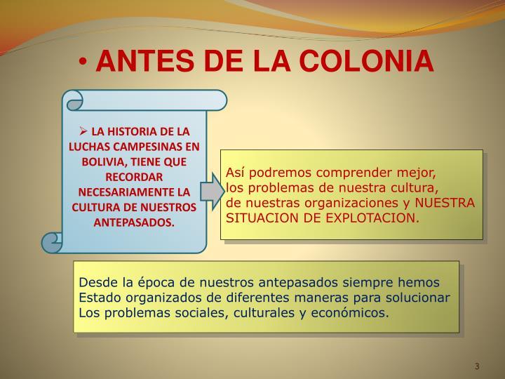 ANTES DE LA COLONIA