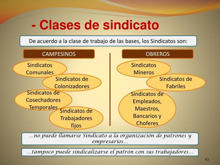 - Clases de sindicato