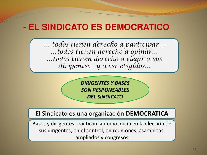 - EL SINDICATO ES DEMOCRATICO
