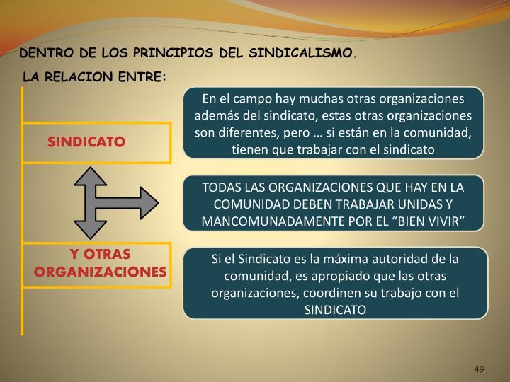 DENTRO DE LOS PRINCIPIOS DEL SINDICALISMO.