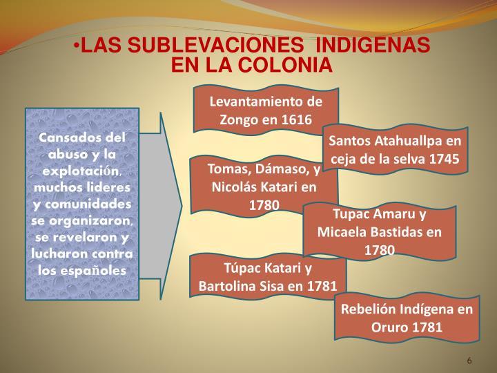 LAS SUBLEVACIONES  INDIGENAS
