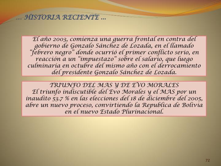 … HISTORIA RECIENTE ...