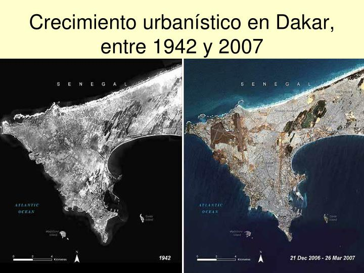 Crecimiento urbanístico en Dakar, entre 1942 y 2007