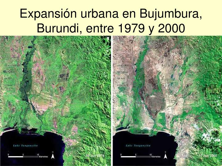 Expansión urbana en Bujumbura, Burundi, entre 1979 y 2000