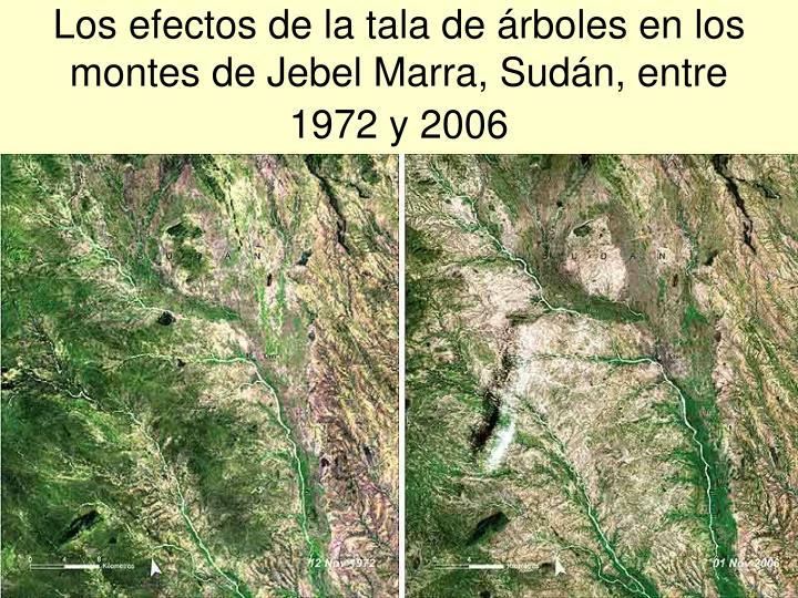 Los efectos de la tala de árboles en los montes de Jebel Marra, Sudán, entre 1972 y 2006