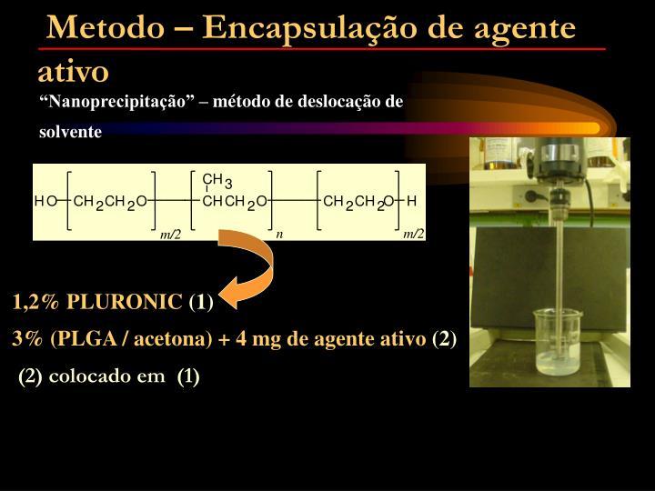 Metodo – Encapsulação de agente ativo