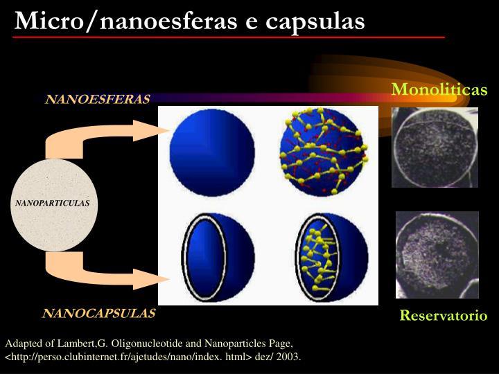 Micro/nanoesferas e capsulas
