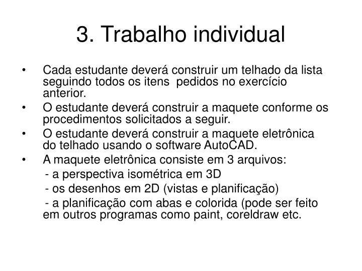 3. Trabalho individual
